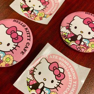Sanrio Hello Kitty Cafe Pins & Stickers 4 Total!